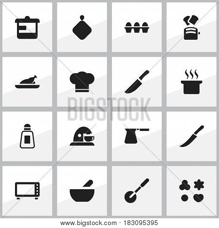 Set Of 16 Editable Meal Icons. Includes Symbols Such As Cup, Fried Chicken, Knife And More. Can Be Used For Web, Mobile, UI And Infographic Design.