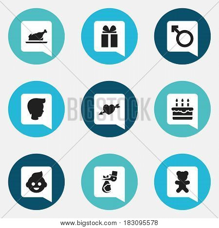 Set Of 9 Editable Family Icons. Includes Symbols Such As Man Emblem, Boy, Toy And More. Can Be Used For Web, Mobile, UI And Infographic Design.