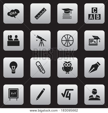 Set Of 16 Editable Education Icons. Includes Symbols Such As Nib, Blackboard, Mind And More. Can Be Used For Web, Mobile, UI And Infographic Design.