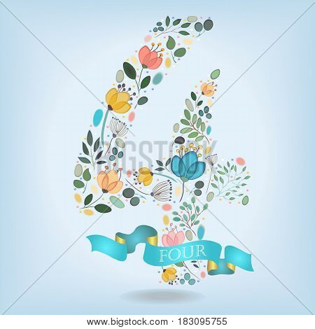 Floral Number Four. Watercolor graceful flowers plants and blurs. Blue ribbon with golden back and white text. Vector Illustration