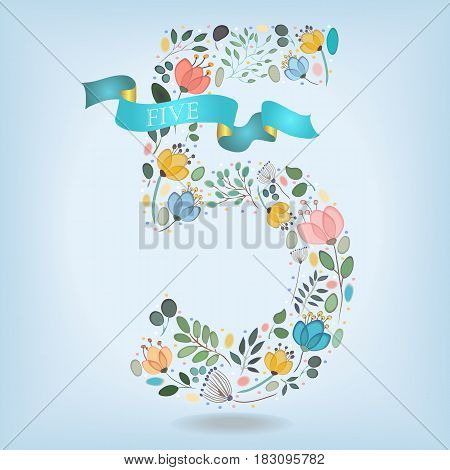 Floral Number Five. Watercolor graceful flowers plants and blurs. Blue ribbon with golden back and white text. Vector Illustration