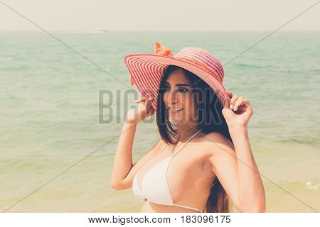 Beautiful Attractive Large Breast Asian Bikini Woman Posing Sexy Portrait On Beach