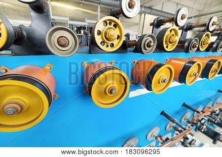 Shop for the production of copper-aluminum wire. Automatic winding machine.
