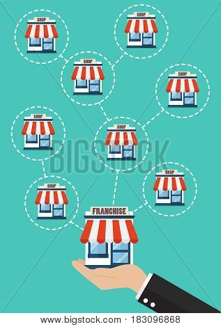 Businessman hand with franchise business system. Business concept