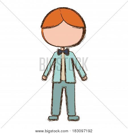 blurred colorful faceless cartoon man in wedding suit with bowtie vector illustration