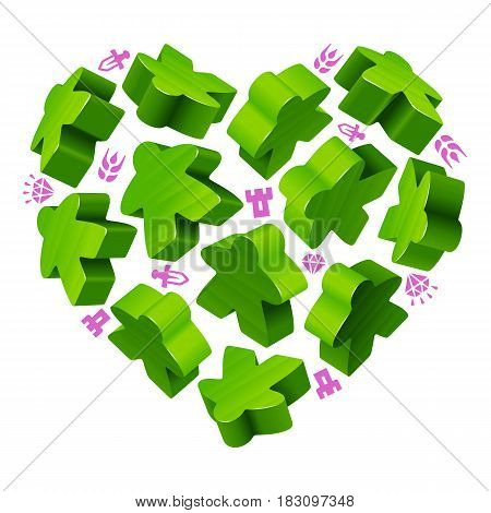 Vector game pieces in the shape of heart. Green wooden meeples and resources counter icons isolated on yellow background. Concept of love by board games