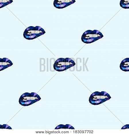 Pattern polygon lips blue. For textiles, paper or website