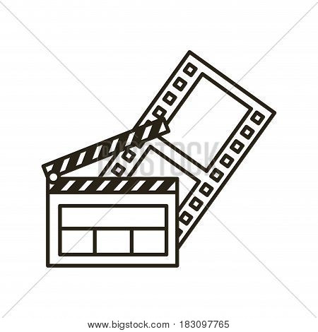 clapper board flat line icon vector illustration design
