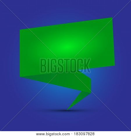 Abstract glossy green origami speech. Vector abstract background. Green brochure.