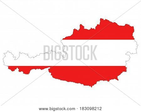 High resolution Austria map with country flag. Flag of the Austria overlaid on detailed outline map isolated on white background
