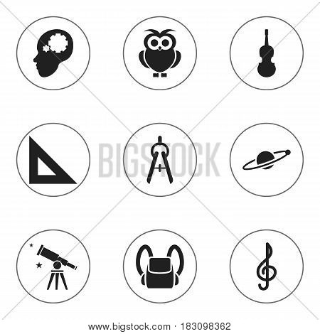 Set Of 9 Editable University Icons. Includes Symbols Such As Binoculars, Trigon Straightedge, Astrology And More. Can Be Used For Web, Mobile, UI And Infographic Design.