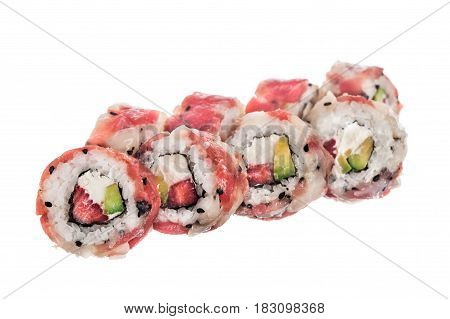 Tuna scallop roll with strawberry over white background