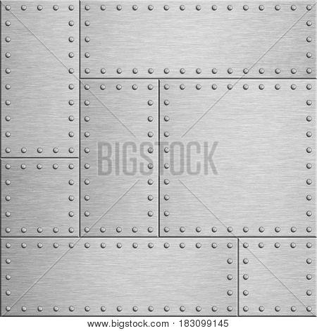 Armor metal plates background 3d illustration