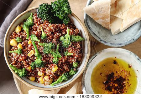Quinoa Salad With Broccoli And Corn With Pitta Bread. The Concep