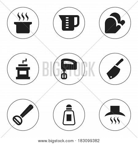 Set Of 9 Editable Food Icons. Includes Symbols Such As Agitator, Husker, Mensural And More. Can Be Used For Web, Mobile, UI And Infographic Design.