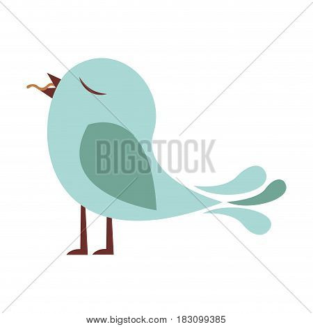 colorful silhouette of bird with worm in the peak vector illustration