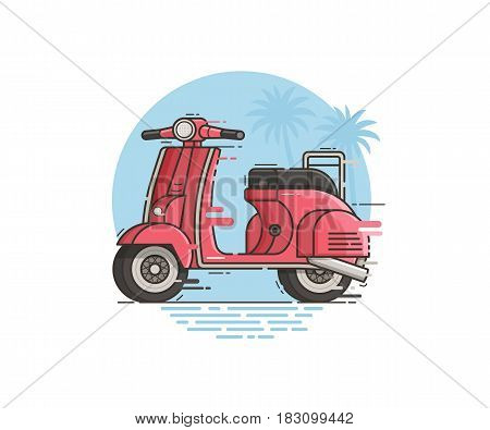 Pink scooter riding fast. Motor bike on road trip vector illustration. Motorcycle in motion on tropical seaside background. Retro motorbike in flat design.