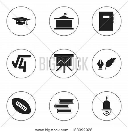 Set Of 9 Editable University Icons. Includes Symbols Such As Oval Ball, Alarm Bell, Chart Board And More. Can Be Used For Web, Mobile, UI And Infographic Design.