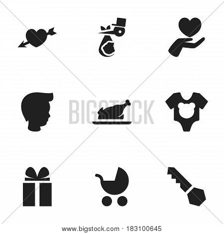 Set Of 9 Editable Family Icons. Includes Symbols Such As Love, Fried Chicken, Lock And More. Can Be Used For Web, Mobile, UI And Infographic Design.