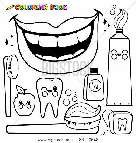 Vector black and white outline set of dental hygiene objects: toothbrush, toothpaste, dental floss, mouth wash, tooth, bitten apple and a beautiful mouth smiling with healthy teeth. Coloring book page.