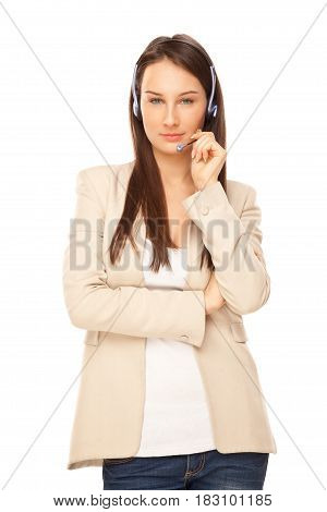 Picture Of Beautiful Operator Of Call Center Isolated On White