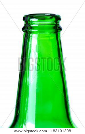 Green glass bottle neck isolated on white background.