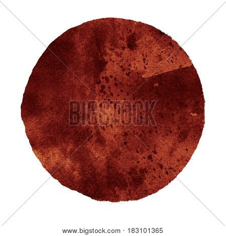 Watercolor abstract brown circle isolated on white background. Modern spot of round shape painted in watercolor in shades of ochra and caramel colors. Trendy watercolour texture