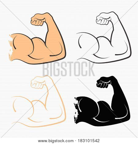 Set strong power muscle arms the stages of pumping biceps vector icon