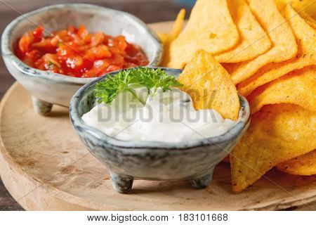 Snack For A Party, Chips With A Tortilla, Nachos With Sauces: Sa
