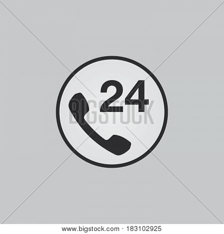 24h support icon isolated on white background .
