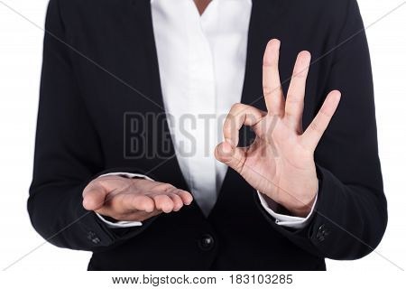 Business Woman Open Hand Holding Something And Showing Ok Sign