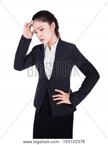 Worried Business Woman Isolated On White