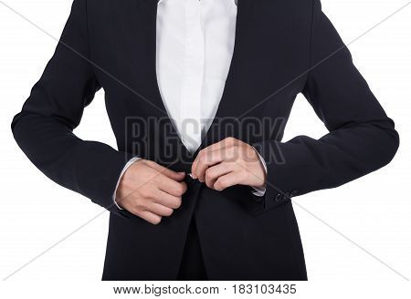 Business Woman Buttoning Her Suit Isolated On White