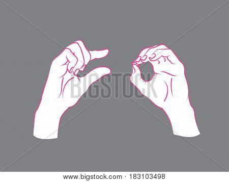 Gesture. A little bit sign. Two female hands showing a few of something. Vector illustration in sketch style isolated on a grey background. Making a less signal by hands. Pink lines and white silhouette.