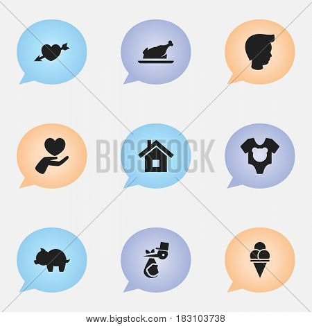 Set Of 9 Editable Folks Icons. Includes Symbols Such As Home, Heart, Bodysuit And More. Can Be Used For Web, Mobile, UI And Infographic Design.