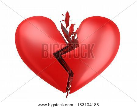 Abstract broken heart on white background. 3d illustration