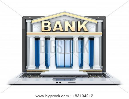 Build in screen laptop. Abstract symbol online bank. 3d illustration