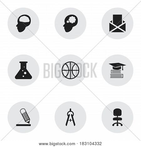 Set Of 9 Editable School Icons. Includes Symbols Such As Cerebrum, Envelope, Writing And More. Can Be Used For Web, Mobile, UI And Infographic Design.