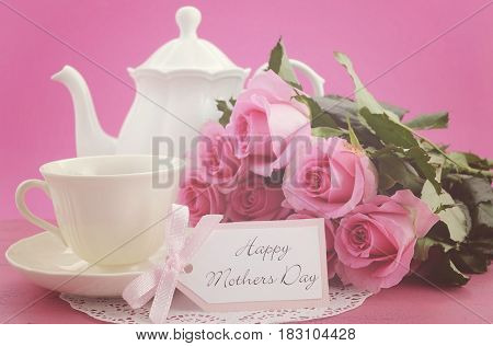 Happy Mothers Day Pink Roses And Tea Setting.