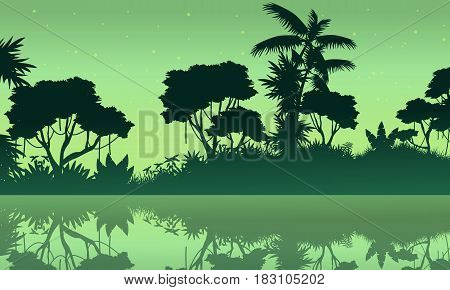 Jungle with lake scene of silhouette vector illustration