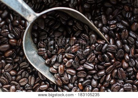 Roasted coffee beans With a spoon of coffee.