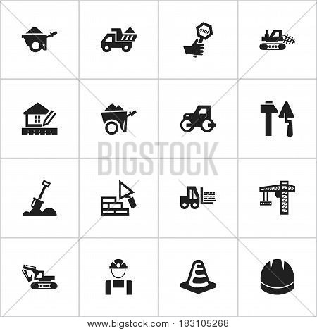 Set Of 16 Editable Building Icons. Includes Symbols Such As Excavation Machine , Handcart , Construction Tools. Can Be Used For Web, Mobile, UI And Infographic Design.