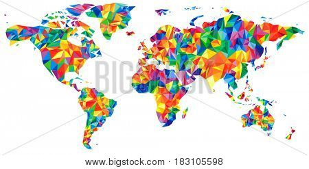 Abstract continents World Map from triangles. Origami style. Polygonal pattern for your design.