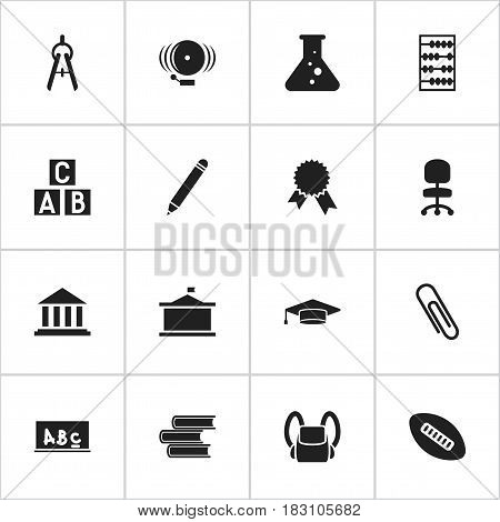 Set Of 16 Editable Science Icons. Includes Symbols Such As Pencil, Univercity, Schoolbag And More. Can Be Used For Web, Mobile, UI And Infographic Design.