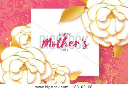 Happy Mothers Day. Gold White Floral Greeting card. Women's Day. Paper cut Peony flower. Floral holiday. Origami Beautiful bouquet. Square frame. Space for text. Pink. Vector illustration.