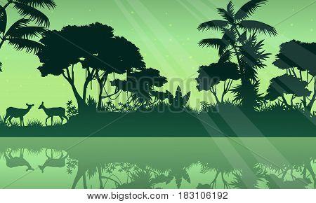 Silhouette jungle and lake scenery vector art