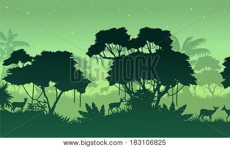 Landscape jungle on green background vector illustration