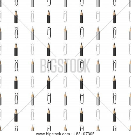 Seamless Pattern with Lines of Realistic Black and Grey Pencils and Paperclip on White Backdrop. Continued Background with Strips Composition of Colorless Stationery.