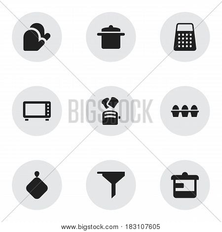 Set Of 9 Editable Food Icons. Includes Symbols Such As Pot-Holder, Slice Bread, Filtering And More. Can Be Used For Web, Mobile, UI And Infographic Design.