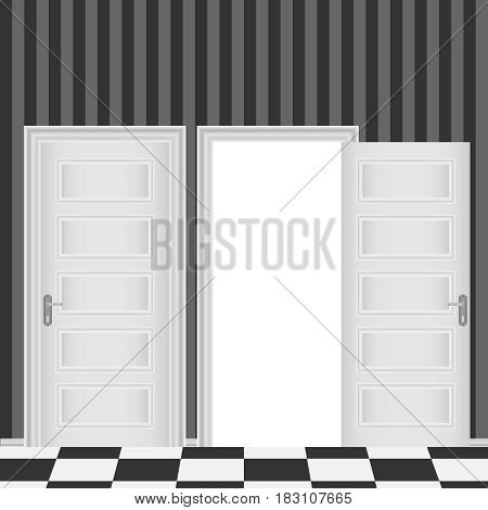 Closed and open entrance white door. Flat design vector illustration vector.